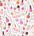 Manicure tools seamless pattern vector image