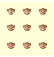 minimalistic flat monkey emotions icon set vector image vector image