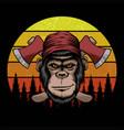 monkey lumberjack retro vector image vector image