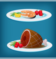 plates with grilled fish meat and vegetables vector image vector image