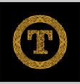 premium elegant capital letter t in a round frame vector image vector image