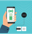 process wireless charging a smartphone vector image vector image