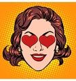 Retro Emoji love heart woman face vector image vector image