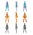 robot costumes set superhero woman vector image