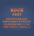 rock fest vintage 3d alphabet set vector image