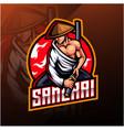 samurai esport mascot logo design vector image vector image