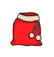 santa claus red bag isolated on white vector image vector image