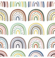 seamless pattern with multicolor pastel rainbows vector image vector image