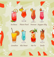 set of classic tropical cocktails on abstract vector image