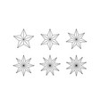 set of edged faceted stars vector image