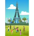 tourists in eiffel tower france vector image vector image