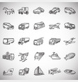 transportation and vehicles thin line on white vector image