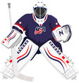 usa hockey goalie in blue dress vector image vector image