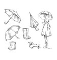 walk in rain icons about rain and rainy weather vector image