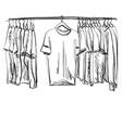 wardrobe sketch clothes on the hangers vector image vector image