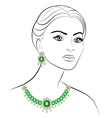 Woman in necklace and earrings vector image