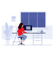 workplace in office business woman working on vector image