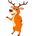 happy deer cartoon waving hand vector image