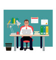 man sitting on red chair in office businessman vector image