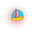 Sail boat icon comics style vector image