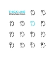 Thoughts in Heads - Thick Single Line Icons Set vector image