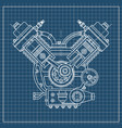 an internal combustion motor the drawing engine vector image vector image