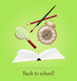 back to school image with book alarm pen art vector image vector image