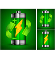 battery recycling green background 10 v vector image vector image