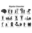 bipolar mental disorder icons show signs and vector image