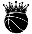 black silhouette king basket ball in a cartoon vector image