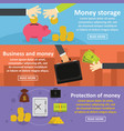 business money banner horizonatal set flat style vector image vector image