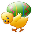 cartoon happy chicken carrying egg vector image vector image
