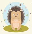 cartoon hedgehog wild animal with falling leaves vector image