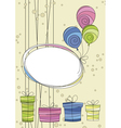 Celebration card with balloons and gifts vector image vector image