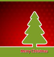 christmas pine tree on red background vector image
