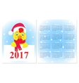 Colorful Calendar 2017 with a rooster vector image vector image