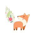 cute fox with tail made floral seamless pattern vector image