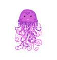 cute happy jellyfish cartoon character sea animal vector image vector image