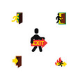 flat icon door set of open door entry fire exit vector image vector image