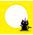 Frame with cute cartoon black cat Birthday hat vector image vector image