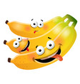 fun cute bunch banana cartoon characters vector image vector image
