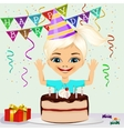 girl celebrating his birthday smiling vector image vector image