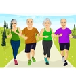 group of senior runners running together vector image vector image