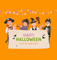 halloween party poster group fun kids vector image