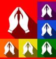hand icon prayer symbol set vector image vector image
