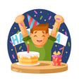happy boy and a birthday cake vector image vector image