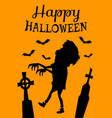 happy halloween poster with zombie silhouette vector image vector image