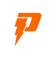 initial letter p logo template with sporty thunder vector image