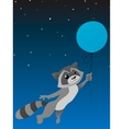 Isolated cute raccoon with balloon on a dark blue vector image