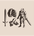 knight with a sword in armor vector image